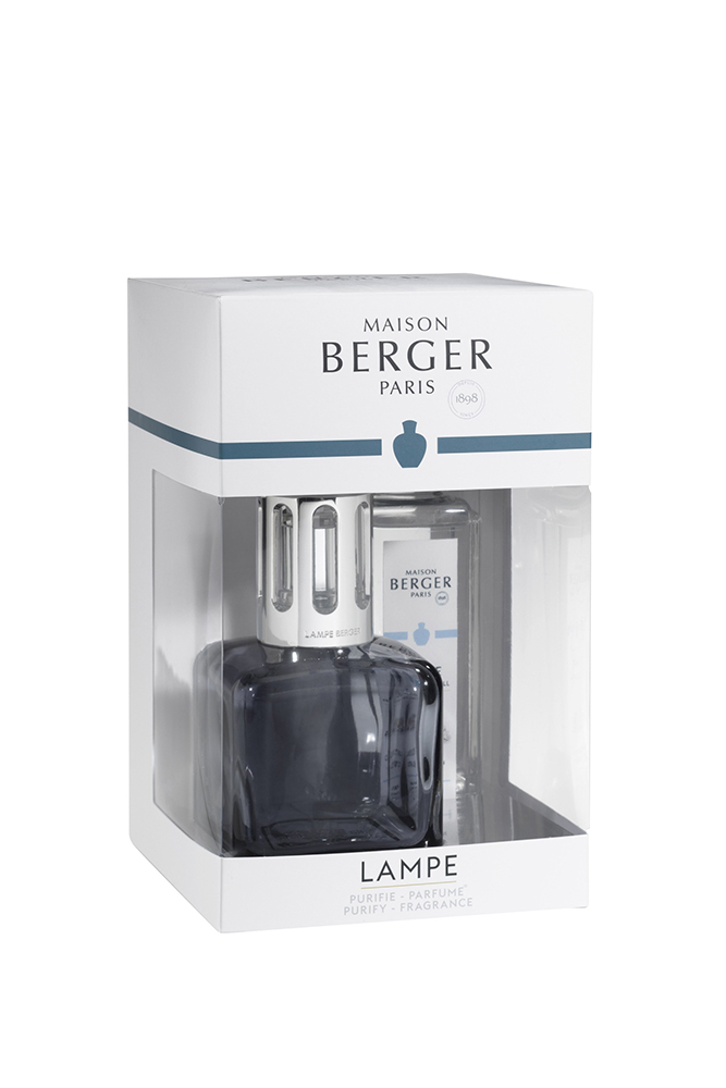 Set Berger lampa catalitica Ice Cube Grey cu aroma de parfum Pure White Tea