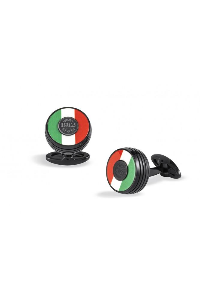 Butoni Gama Tricolore confectionati din  metal negru cu interior in culorile Italiei