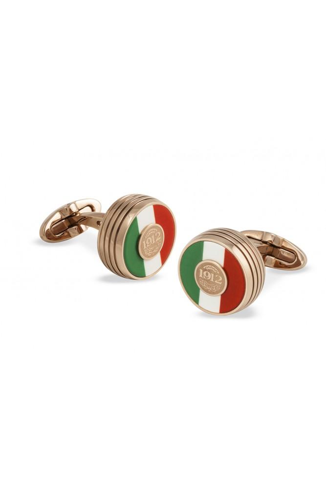 Butoni Gama Tricolore suflati cu aur roz cu interior in culorile italiei