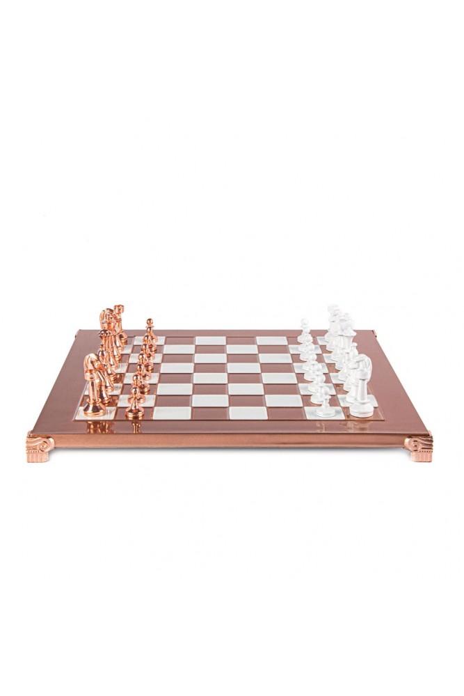 SET DE SAH STAUNTON METALIC CLASIC cu piese alb/cupru și tablă de șah din cupru 36 x 36cm