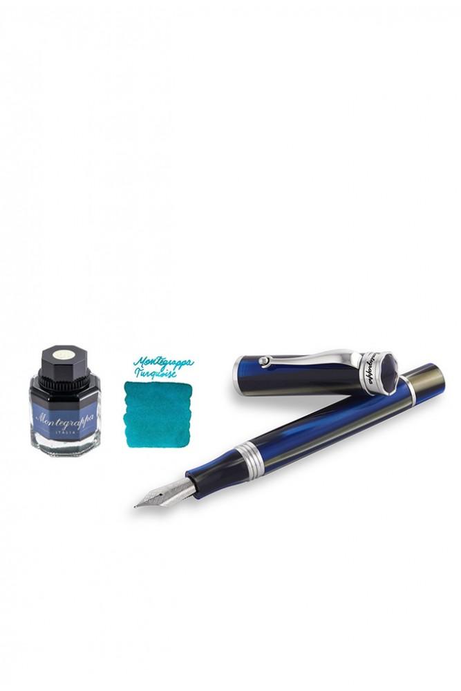 Set Montegrappa, Stilou Ducale Blue & Calimara de cerneala tuqoise