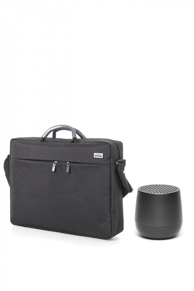 Pachet Lexon, Geanta laptop Premium si Boxa bluethooth portabila Mino